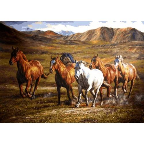 نخ و نقشه تابلو فرش اسبها کد 301