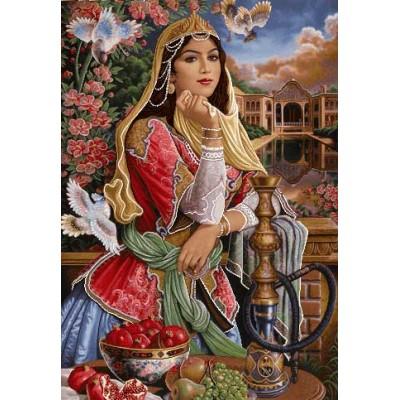 نخ و نقشه تابلوفرش دختر قاجار