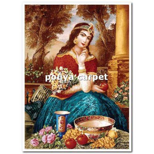 نخ و نقشه تابلو فرش طرح  دختر قاجار کد 1