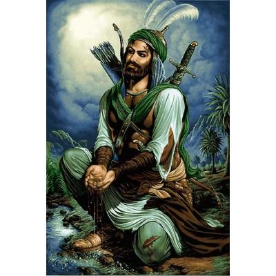 نخ و نقشه تابلو فرش طرح حضرت ابولفضل کد7